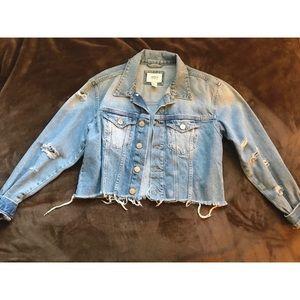 Crop distressed denim jacket